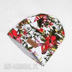 kolorowa czapka beanie ciepła w kwiaty unisex - czapka, beanie, kwiaty, kolorowa
