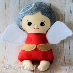 aniołek modlący - malinka 24 cm, anioł, lalka, bezpieczna, chrzciny, roczek