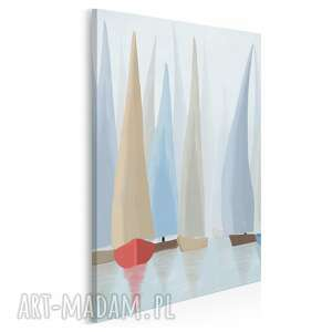 vaku dsgn obraz na płótnie - żaglówki regaty pastelowy w pionie 50x70 cm