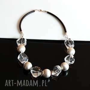 akadi 1 kryształowy naszyjnik, kryształ, srebro, skóra