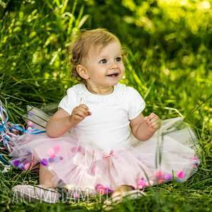 Spódniczka tiulowa z pomponikami Pink Bow, pompony, pomponiki, tiul, tiulowa, tutu