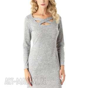 dopasowana sukienka z paskami emily szara 024, elegancka sukienka, tuba