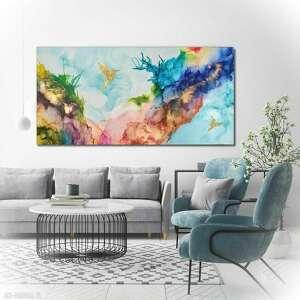 obraz ręcznie malowany na płótnie - 160x80 cm - kolibry techniką alcohol ink