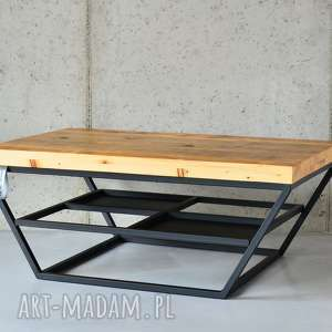 Stolik San-Ki 100 Łódka Czerń, kawowy, stal, drewno, loft, nowoczesny,