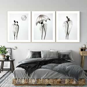 art krystyna siwek zestaw 3 obrazów, obrazy ręcznie malow, grafiki do salonu