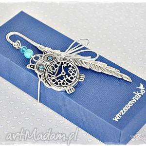 sowa zegarowa - zakładka w pudełku, zakładka, sowa, książka, nauczyciel, prezent