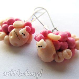 KOLCZYKI różowe owieczki z kryształkami, kolczyki, modelina, fimo, owieczki, owce