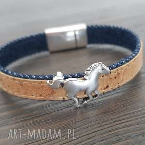 handmade męska bransoletka magnetoos cork i jeans horse