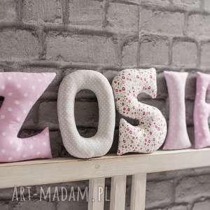 Literki z bawełny Zosia, napis, dekoracja, zawieszka, ściana, dziewczynka