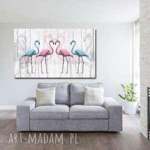 obraz xxl FLAMING 5 - 120x70cm na płótnie flamingi, falamin, desig, ptaki