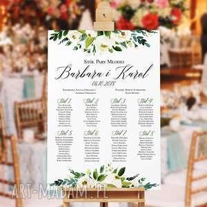 kreatywne wesele kwiecisty plan stołów -plakat 50x70 cm, stołów, goście