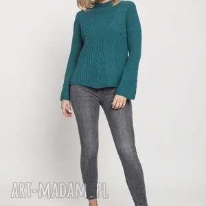 swetry sweter z delikatną stójką, swe175 zielony mkm, sweter, rękawy, wzory