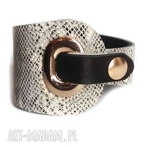 hand-made bransoleta skórzana wężowa eyelet złota