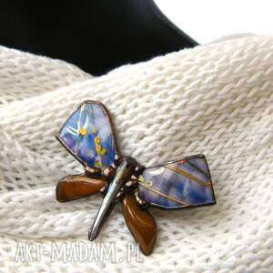Broszka: Motyl malowany błękitno-miedziany, z-jaspisem, malowana-broszka