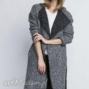 płaszcz, pa102 szary - płaszcz, trencz, szlafrokowy, wełna, pasek, szary