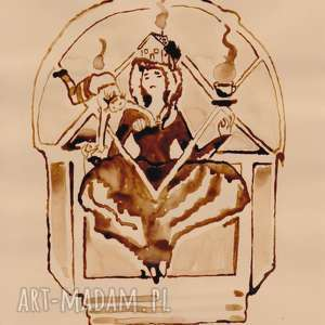 ręcznie robione obrazy macierzyństwo czyli sztuka wielkiego omm - obraz kawą malowany