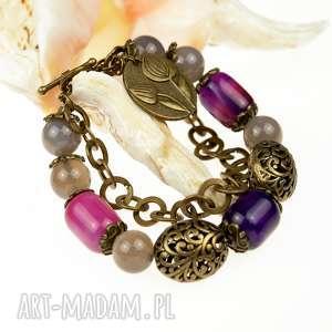 elegancka bransoletka z agatami b512, fiolet, modna