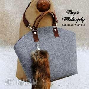ręcznie wykonane torebki filcowa szara brązowa torebka hobo fox!