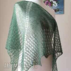 ręczne wykonanie chustki i apaszki elegancka zieleń mgiełka z jedwabiem