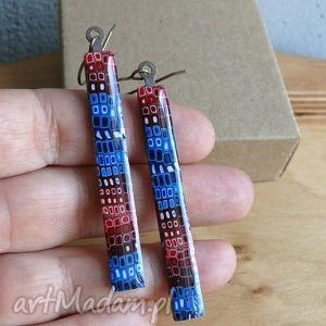 Kolczyki z mosiądzu, długie, wiszące, żywica, kolorowe, niebieski, czerwony