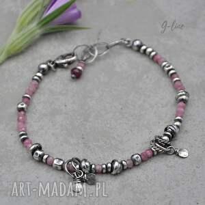 surowa srebrna bransoletka z różowym turmalinem 155, turmalin, różowy turmalin