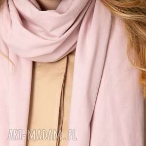 handmade chustki i apaszki jesienny szal szalik bawełniany damski, pudrowy róż chusta