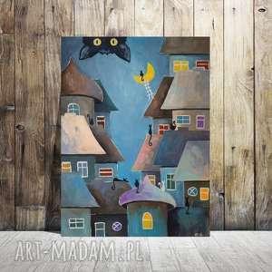 BAJKOWE MIASTECZKO KOTÓW-obraz akrylowy formatu 30/40 cm, miasteczko, bajka, obraz