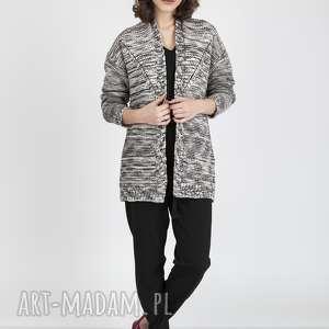 swetry melanżowy kardigan, swe102 beż/czarny mkm, sweter, modny