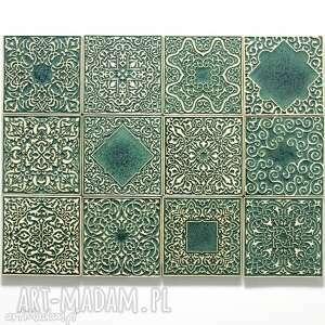 kafle dwanaście ornamentów zielone, dekory, kafle, płytki, ścienne, ornamentowe