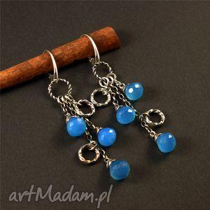 Chalcedon i kropla błękitu, srebro, chalcedon, kolczyki