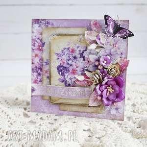 urodzinowa - w fioletach - kartka-urodzinowa, urodziny, imieniny, imieninowa, scrapbooking