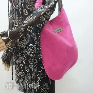 hand-made na ramię worek hobo size xl kolor różowy