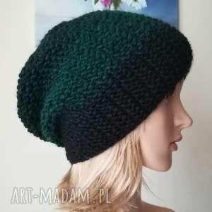 czarno-zielona czapka, rękodzieło, zima, bezszwowa, styl, prezent