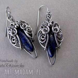 kolczyki z lapis lazuli, wire wrapping, kolczyki, lapislazuli, stal chirurgiczna