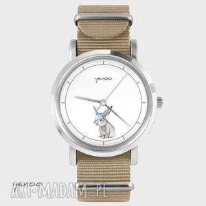 Prezent Zegarek, bransoletka - Zając beżowy, nato, zegarek, bransoletka, nato