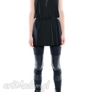 legginsy - futurystyczne panelowe, wygodne, elastyczne, czarne