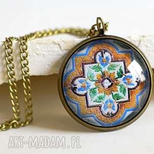 ręcznie zrobione naszyjniki azulejos brązowy łańcuszek