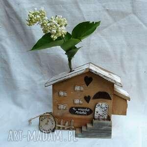 dekoracje rustykalny domek z menzurką, drewna, na kwiat, dekoracja