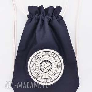 plecak worek z kalendarzem wiccańskim - ,plecak,worek,haft,czarny,natura,las,
