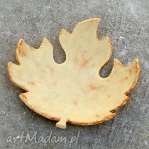 Jesienny liść - miseczka, świecznik, liść, jesień, podstawka, przecierane