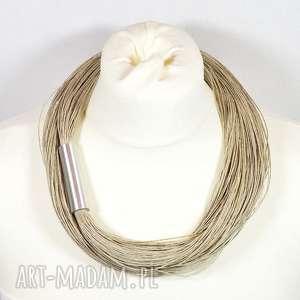 ręcznie zrobione naszyjniki naturalny naszyjnik lniany, prosty z metalowym