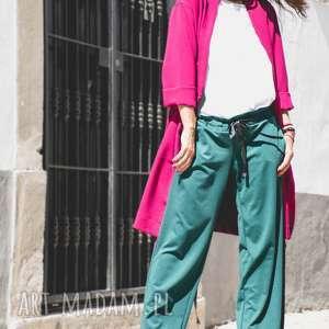 Szerokie spodnie wiązane w pasie kolor morski nun mi spodnie