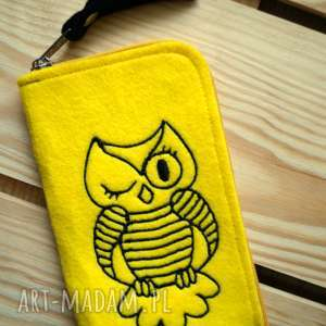 handmade etui filcowe na telefon - sowa