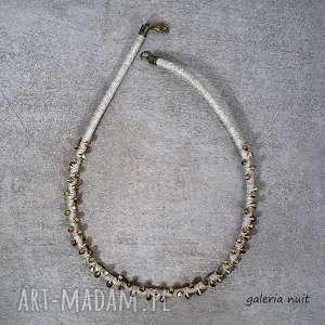 Stare złoto - naszyjnik lniany, bicone, lekki, ekologiczny, naturalny, lniany