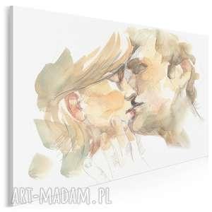 obraz na płótnie - para pocałunek miłość 120x80 cm 90001, para