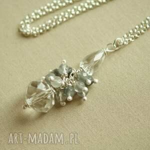 Naszyjnik ze srebra z kryształem górskim i szarym kwarcem, delikatny, kobiecy