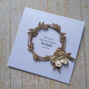 kartka/zaproszenie minimalizm i elegancja z kwiatem, komunia, chrzest, ślub, urodziny