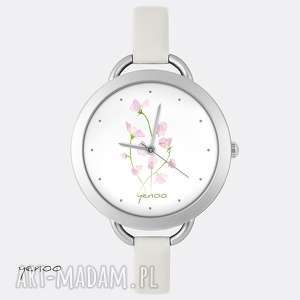 zegarek, bransoletka - różowe kwiaty - zegarek, bransoletka, skórzany, kwiat