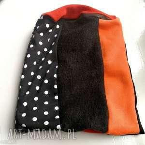 czapka damska szyta patchworkowo handmade, czapka, etno, boho, kolorowa, grochy