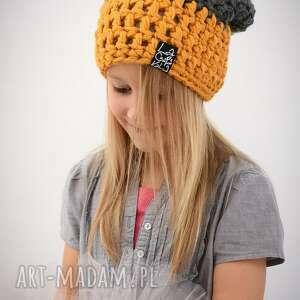 czapka triquensik 15 - musztardowa, dladziecka, czapa, czapka, długa, ciepła